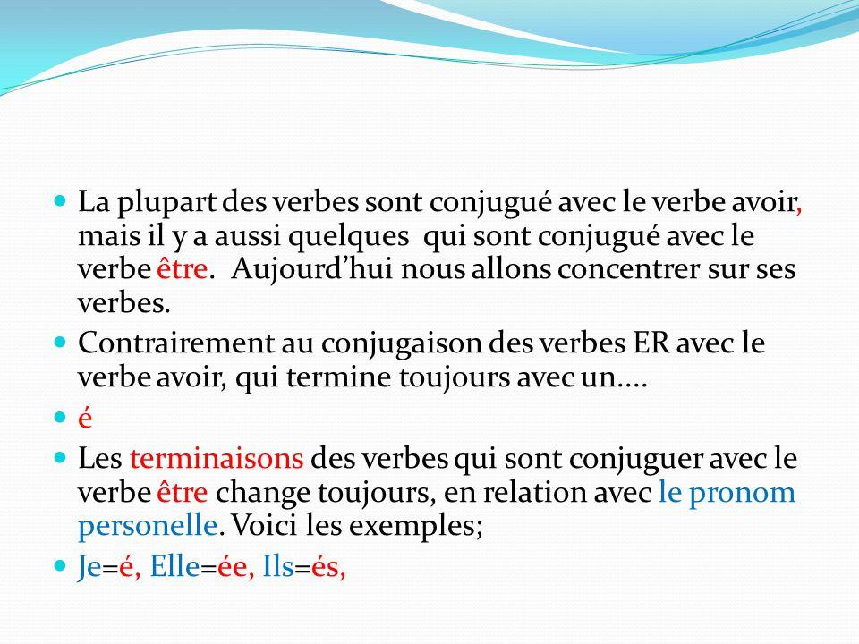 La plupart des verbes sont conjugué avec le verbe avoir, mais il y a aussi quelques qui sont conjugué avec le verbe être. Aujourd'hui nous allons concentrer sur ses verbes.