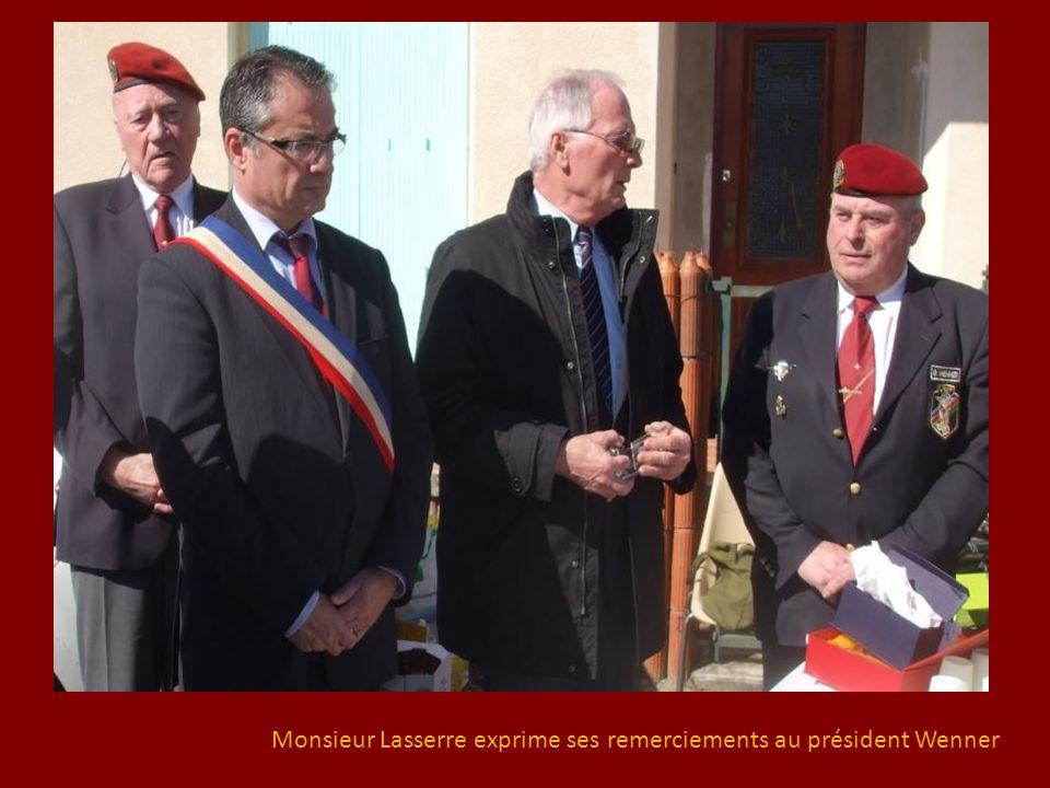 Monsieur Lasserre exprime ses remerciements au président Wenner