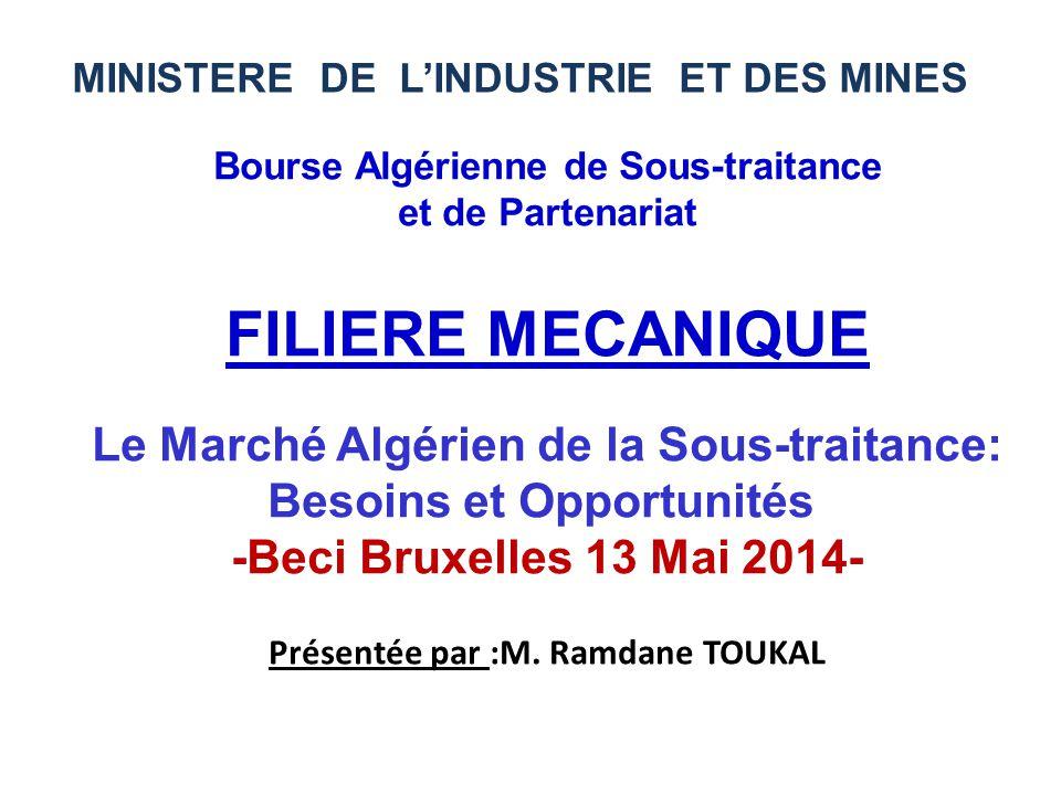 FILIERE MECANIQUE Le Marché Algérien de la Sous-traitance: