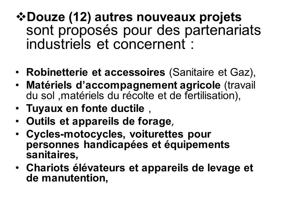 Douze (12) autres nouveaux projets sont proposés pour des partenariats industriels et concernent :