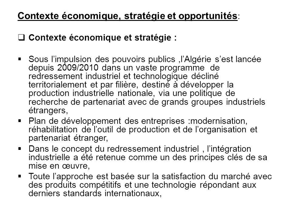 Contexte économique, stratégie et opportunités: