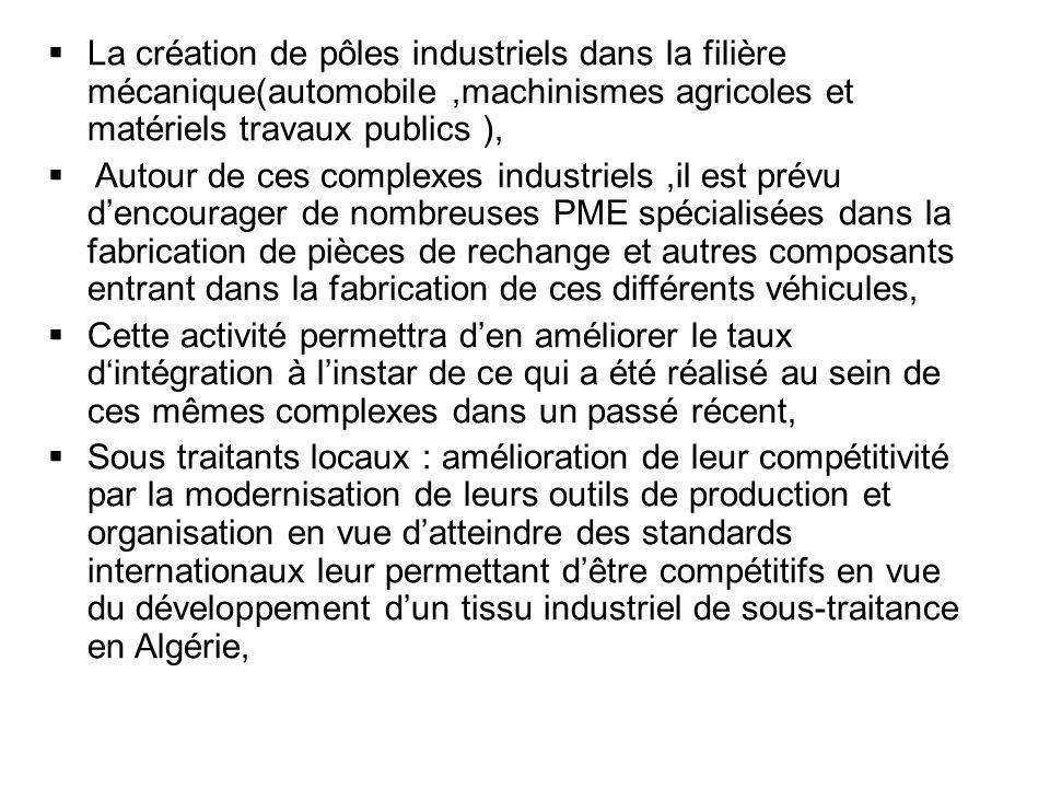 La création de pôles industriels dans la filière mécanique(automobile ,machinismes agricoles et matériels travaux publics ),