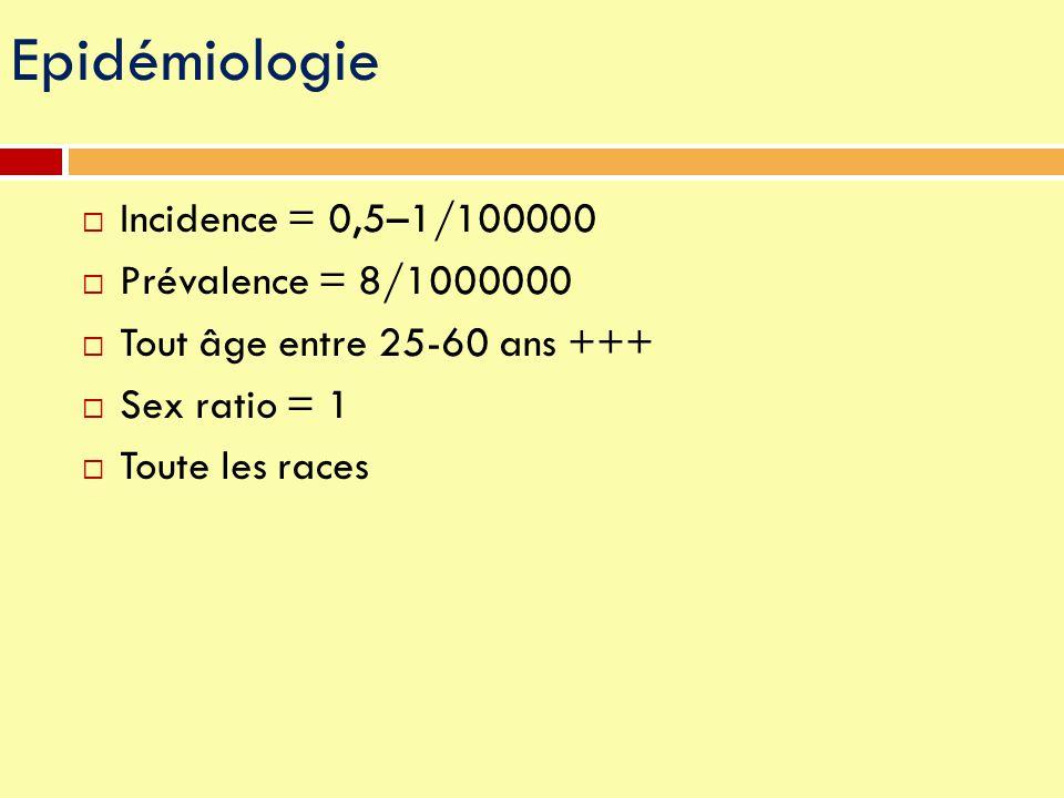 Epidémiologie Incidence = 0,5–1/100000 Prévalence = 8/1000000