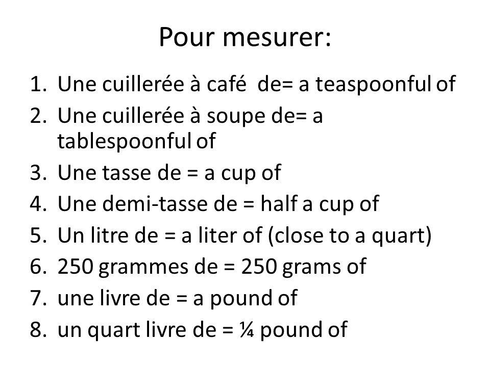 Pour mesurer: Une cuillerée à café de= a teaspoonful of