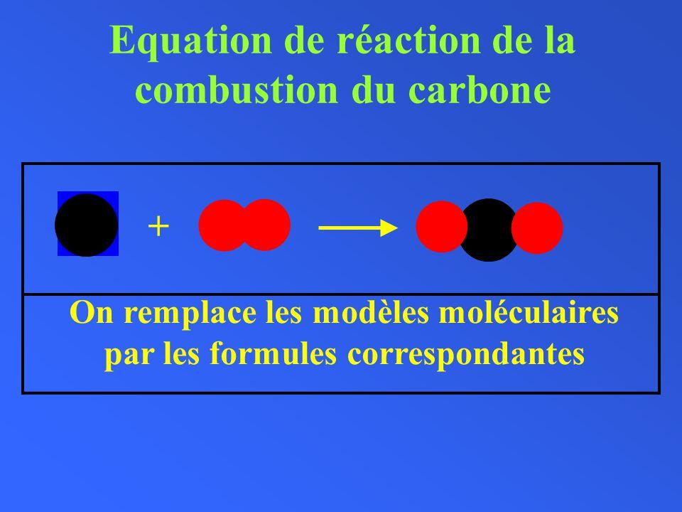 Equation de réaction de la combustion du carbone