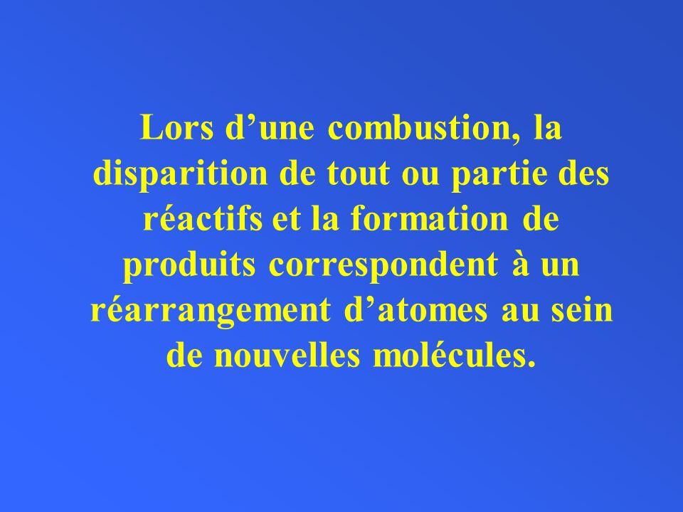 Lors d'une combustion, la disparition de tout ou partie des réactifs et la formation de produits correspondent à un réarrangement d'atomes au sein de nouvelles molécules.