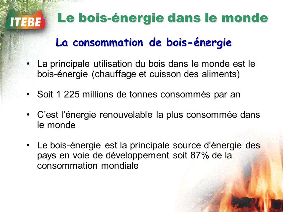 Le bois-énergie dans le monde La consommation de bois-énergie