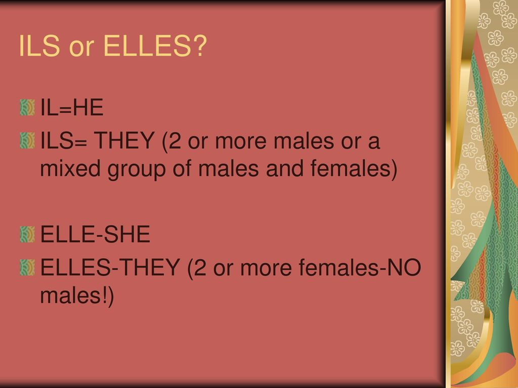 ILS or ELLES. IL=HE. ILS= THEY (2 or more males or a mixed group of males and females) ELLE-SHE.