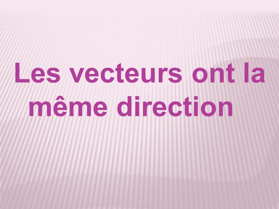Les vecteurs ont la même direction