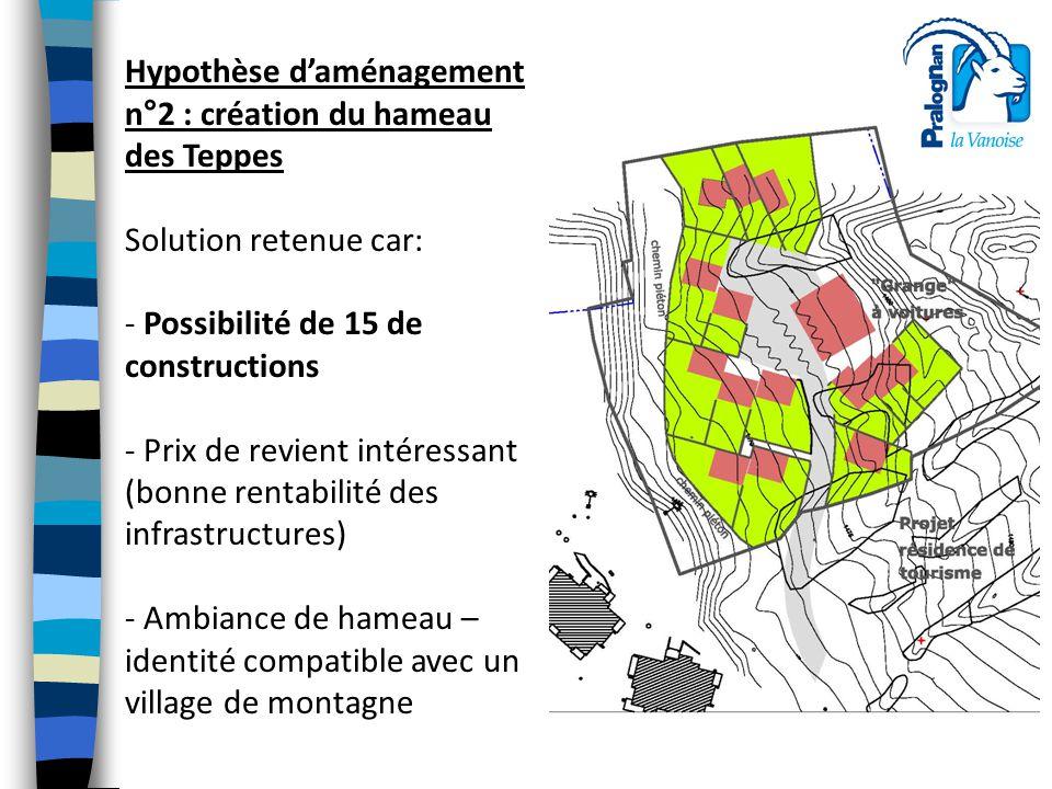 Hypothèse d'aménagement n°2 : création du hameau des Teppes