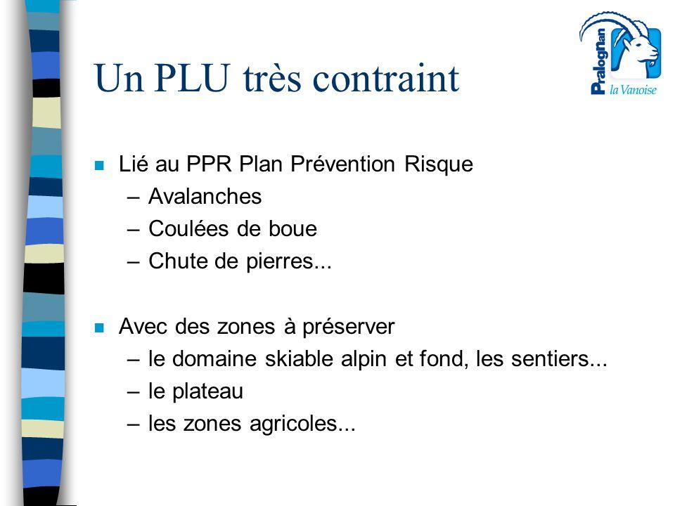 Un PLU très contraint Lié au PPR Plan Prévention Risque Avalanches
