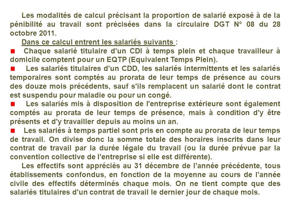 Les modalités de calcul précisant la proportion de salarié exposé à de la pénibilité au travail sont précisées dans la circulaire DGT N° 08 du 28 octobre 2011.