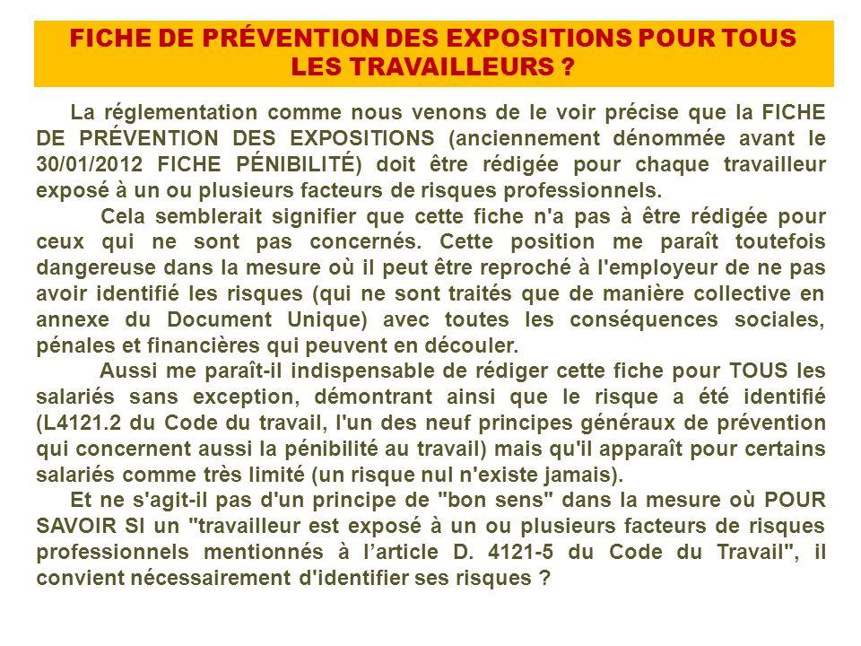 FICHE DE PRÉVENTION DES EXPOSITIONS POUR TOUS LES TRAVAILLEURS