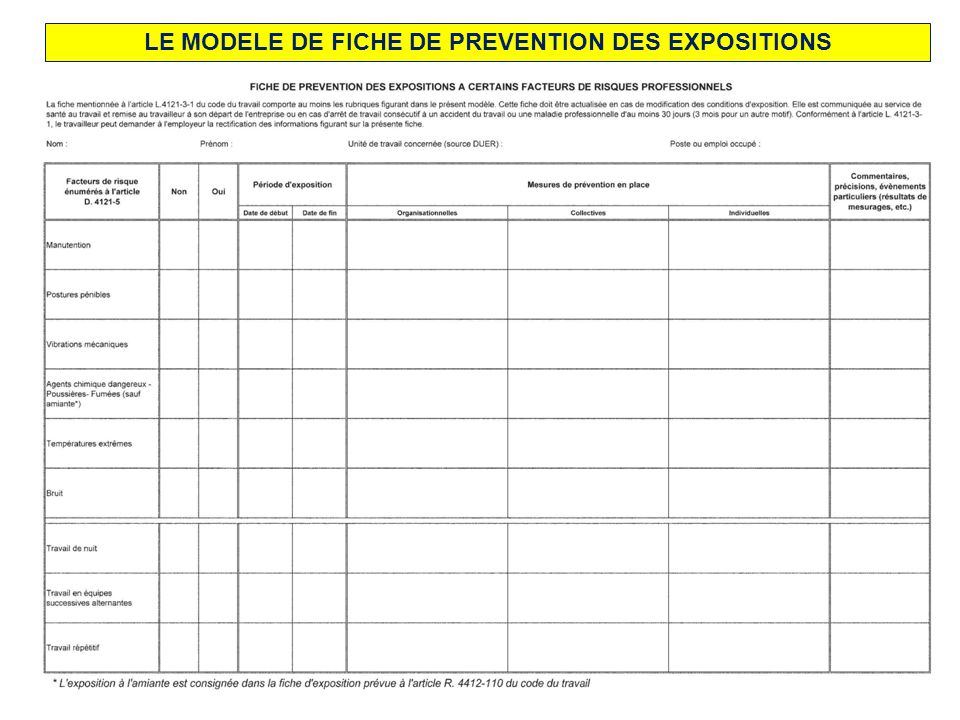 LE MODELE DE FICHE DE PREVENTION DES EXPOSITIONS
