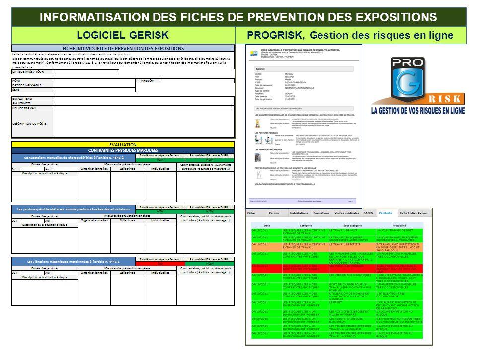INFORMATISATION DES FICHES DE PREVENTION DES EXPOSITIONS