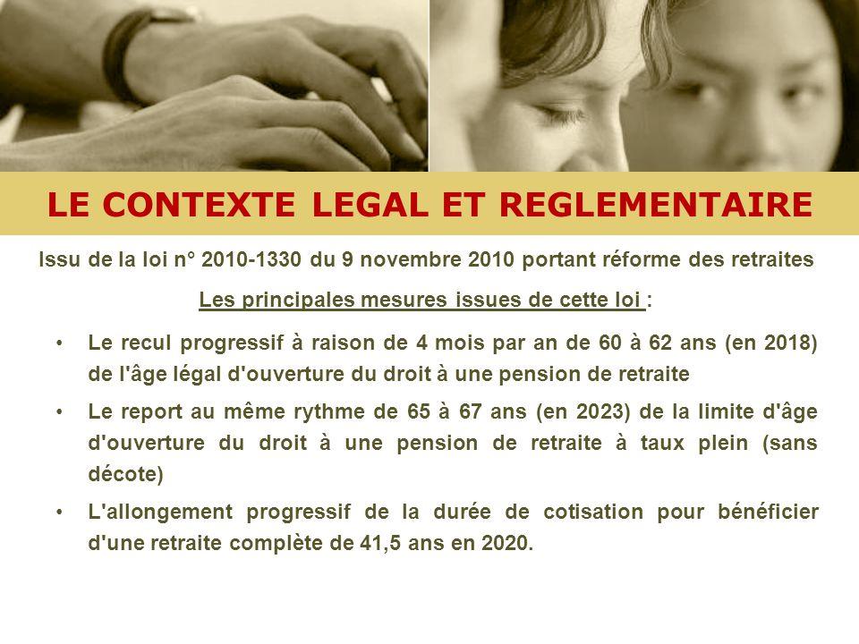 LE CONTEXTE LEGAL ET REGLEMENTAIRE