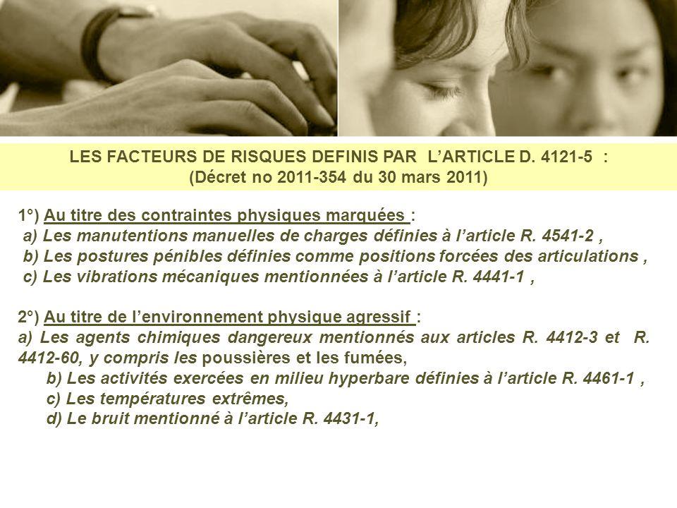 LES FACTEURS DE RISQUES DEFINIS PAR L'ARTICLE D. 4121-5 :