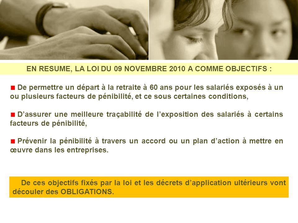 EN RESUME, LA LOI DU 09 NOVEMBRE 2010 A COMME OBJECTIFS :