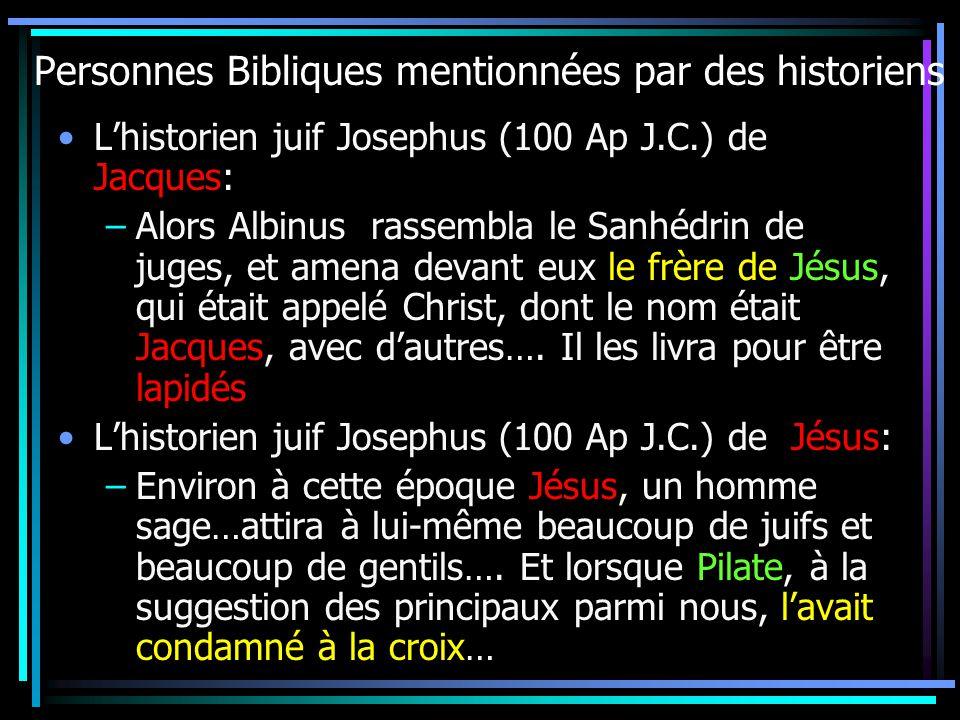 Personnes Bibliques mentionnées par des historiens