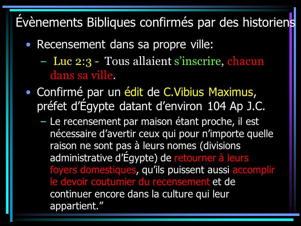 Évènements Bibliques confirmés par des historiens