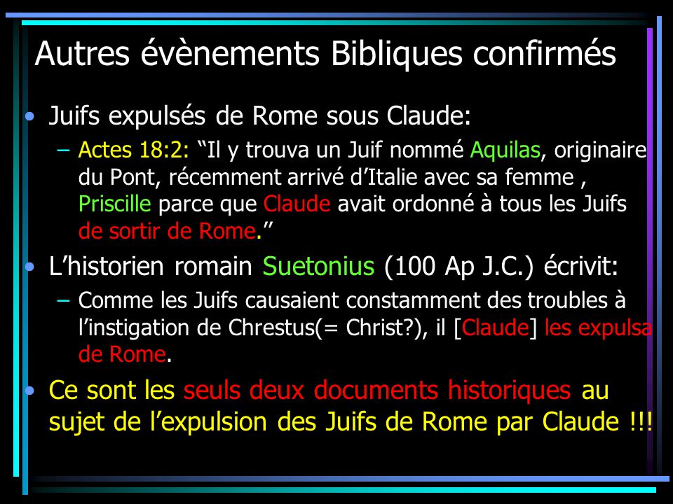 Autres évènements Bibliques confirmés