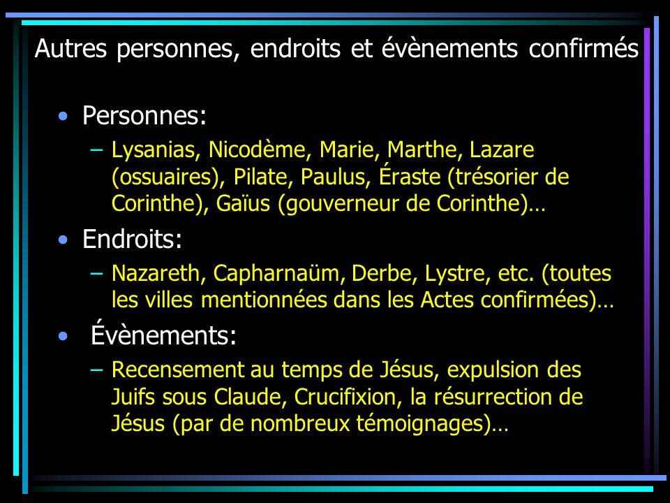 Autres personnes, endroits et évènements confirmés