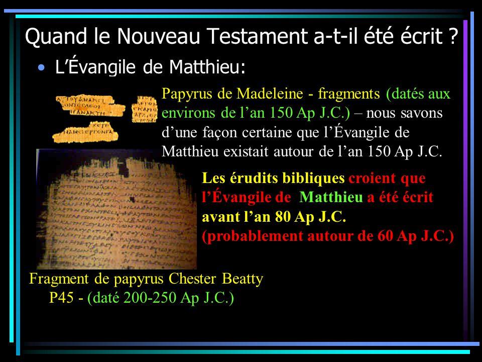 Quand le Nouveau Testament a-t-il été écrit