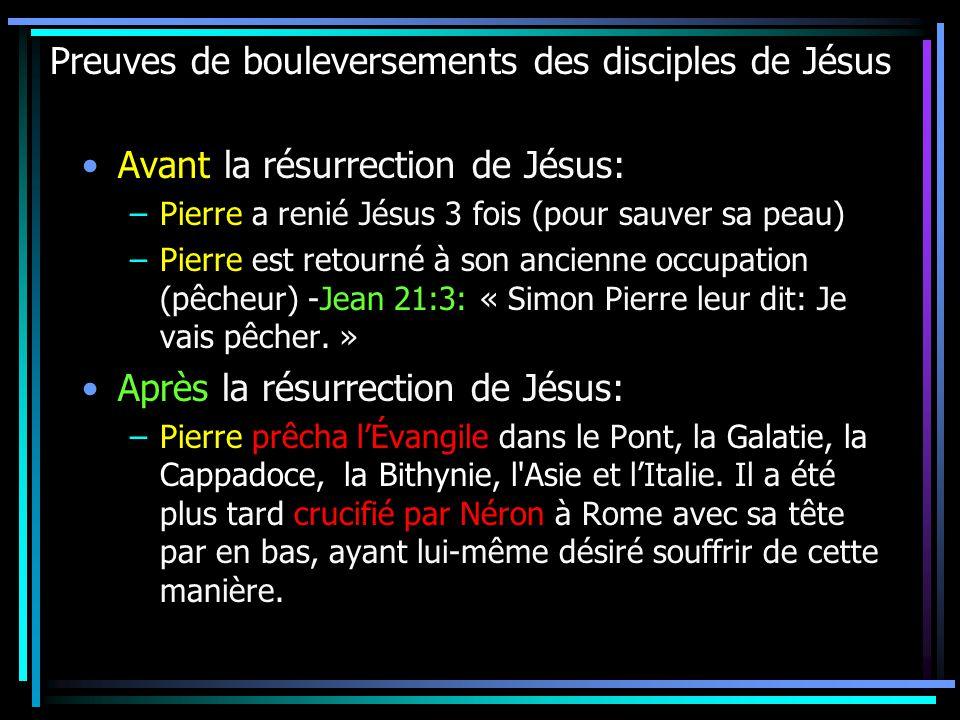 Preuves de bouleversements des disciples de Jésus