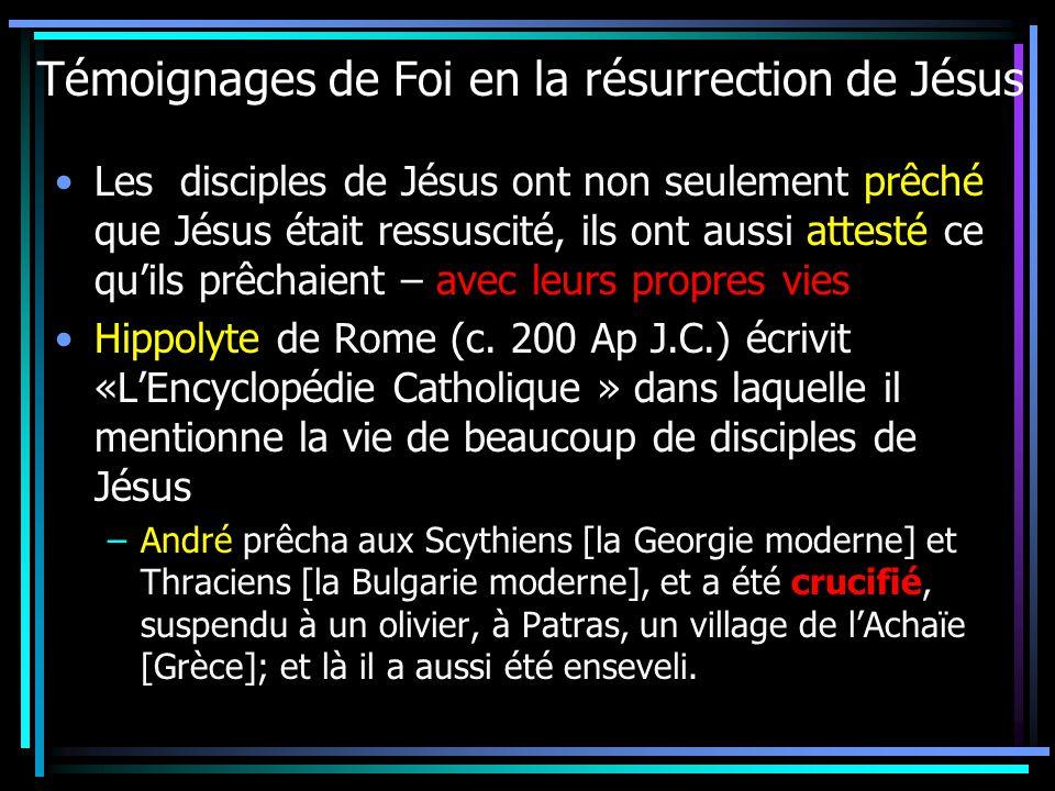 Témoignages de Foi en la résurrection de Jésus