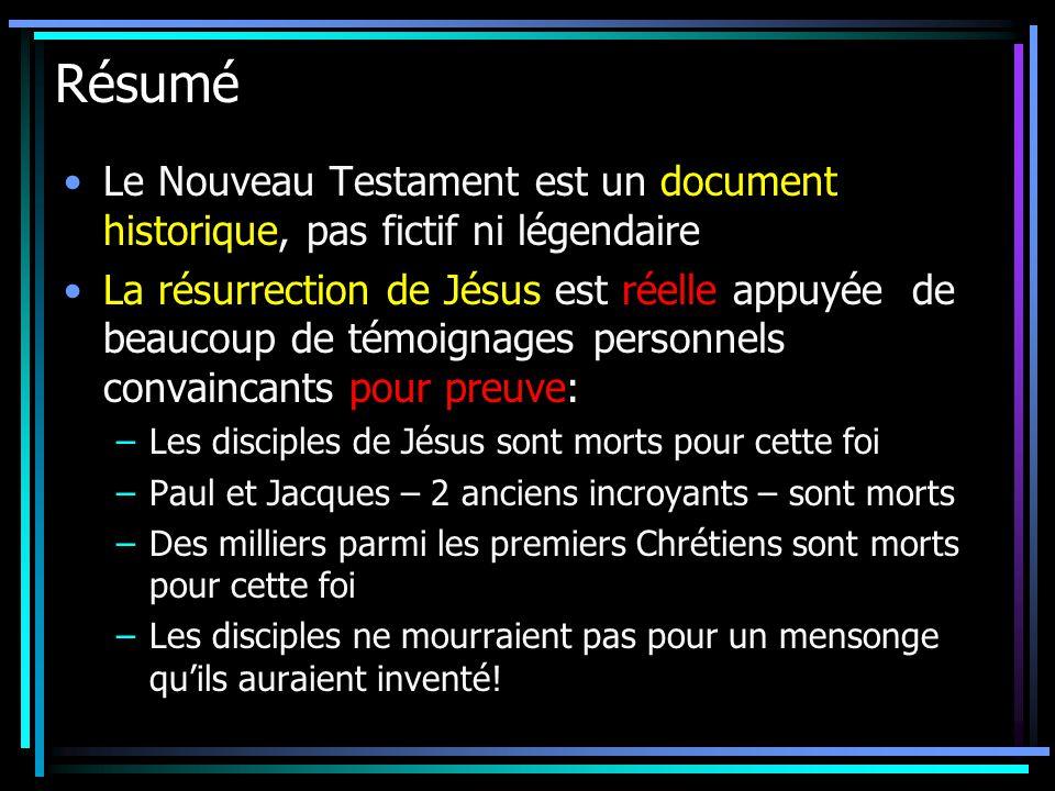 Résumé Le Nouveau Testament est un document historique, pas fictif ni légendaire.