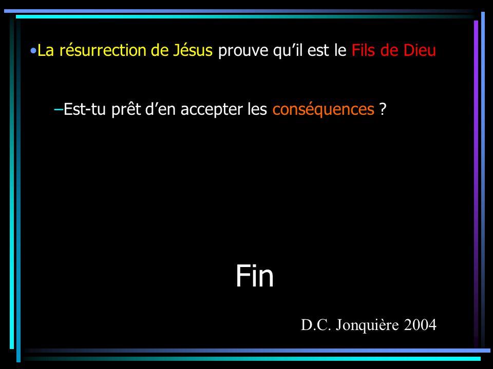 Fin La résurrection de Jésus prouve qu'il est le Fils de Dieu