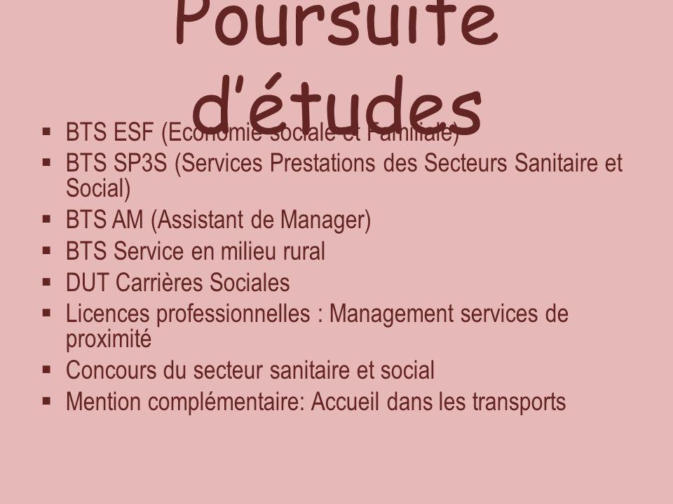Poursuite d'études BTS ESF (Economie sociale et Familiale)