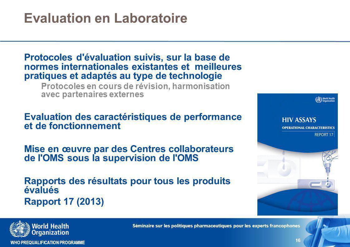 Evaluation en Laboratoire