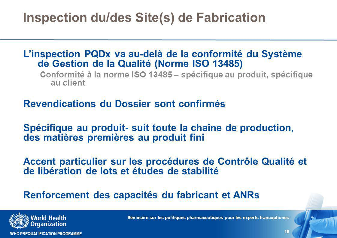 Inspection du/des Site(s) de Fabrication