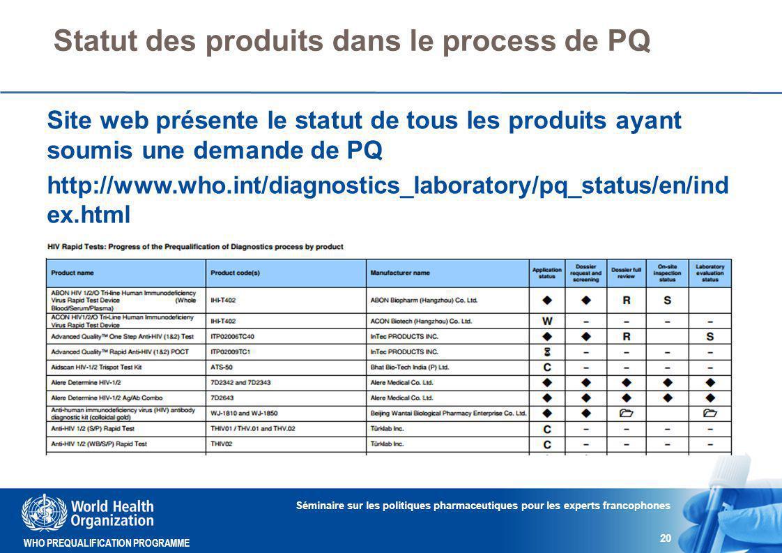 Statut des produits dans le process de PQ