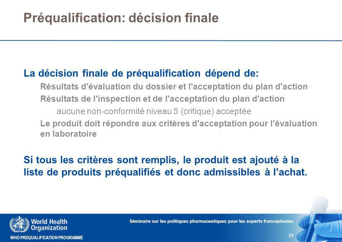 Préqualification: décision finale