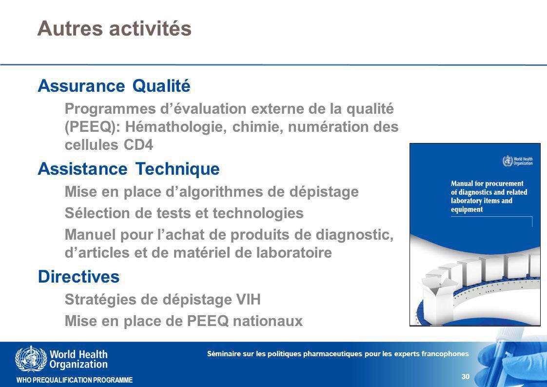 Autres activités Assurance Qualité Assistance Technique Directives
