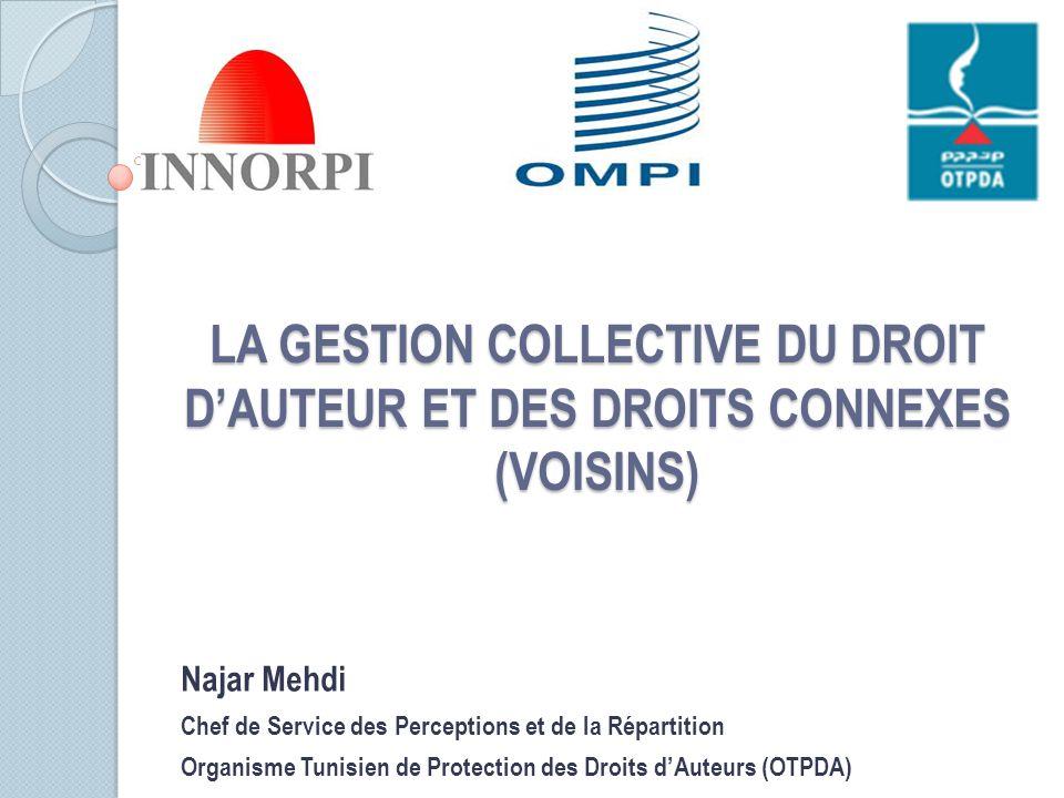 LA GESTION COLLECTIVE DU DROIT D'AUTEUR ET DES DROITS CONNEXES (VOISINS)