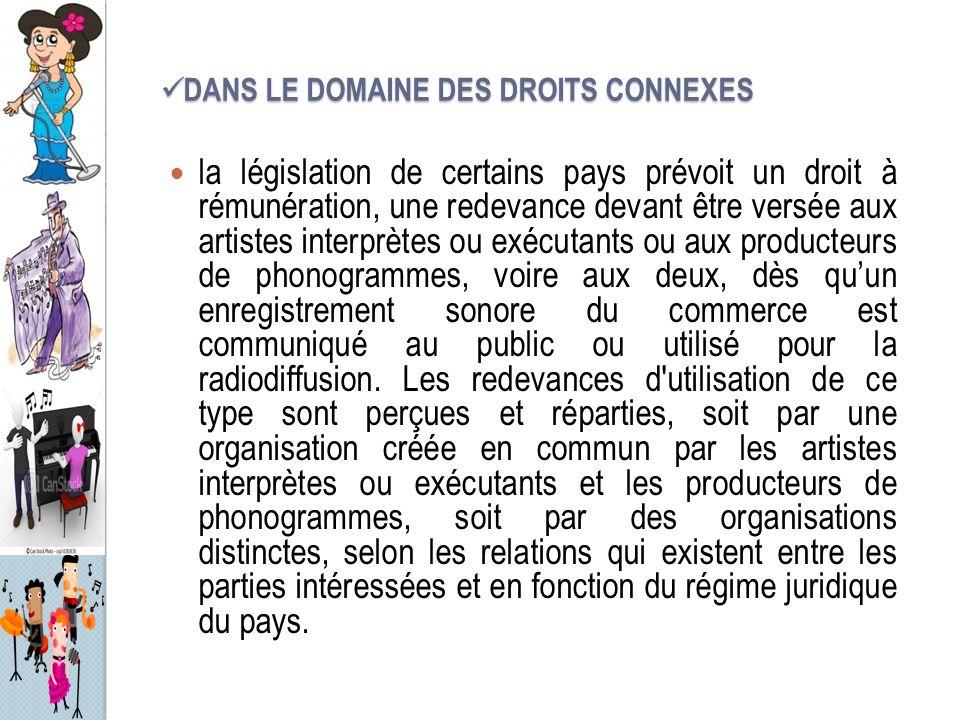 DANS LE DOMAINE DES DROITS CONNEXES