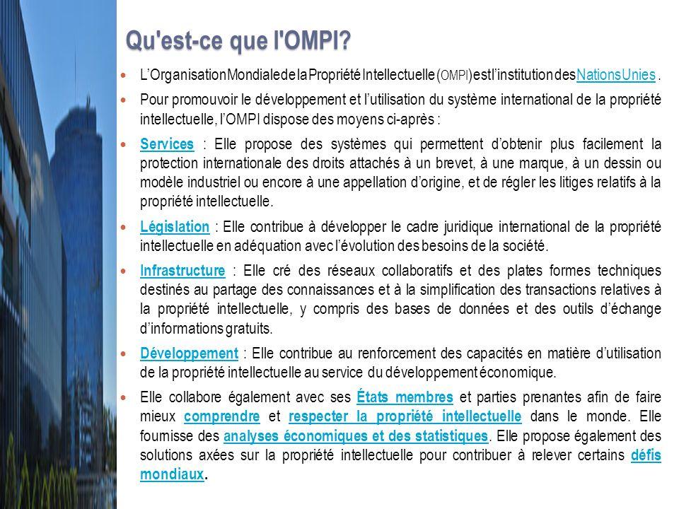 Qu est-ce que l OMPI L'Organisation Mondiale de la Propriété Intellectuelle (OMPI) est l'institution des Nations Unies .
