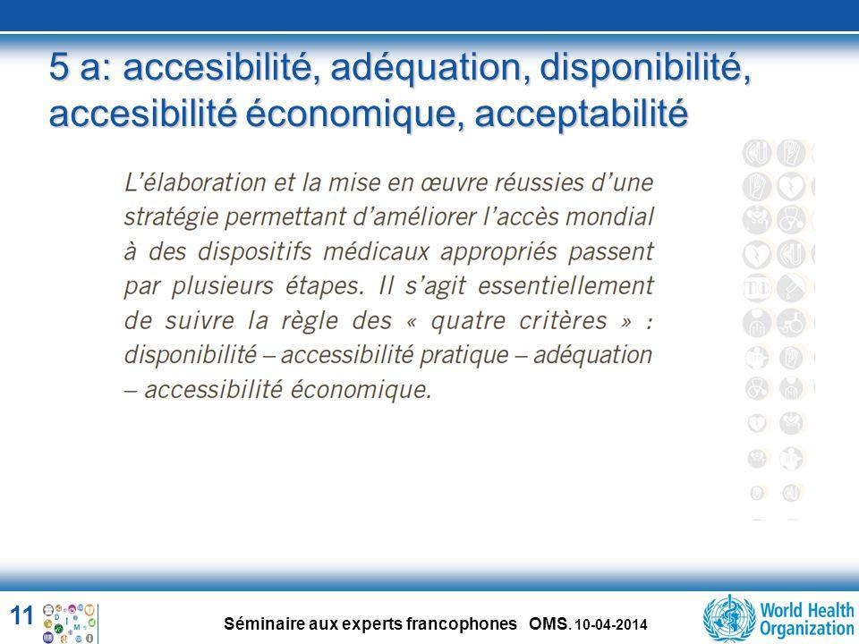 5 a: accesibilité, adéquation, disponibilité, accesibilité économique, acceptabilité