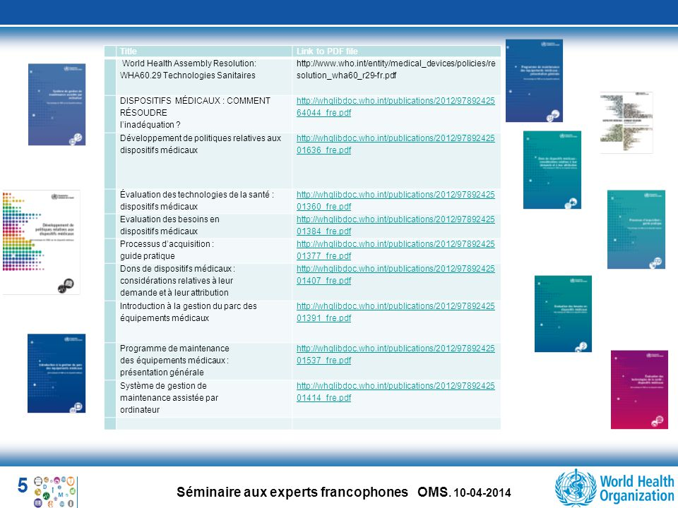 Title Link to PDF file. World Health Assembly Resolution: WHA60.29 Technologies Sanitaires.