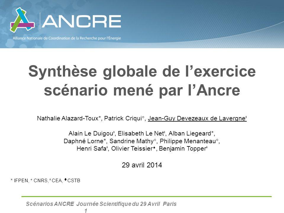 Synthèse globale de l'exercice scénario mené par l'Ancre