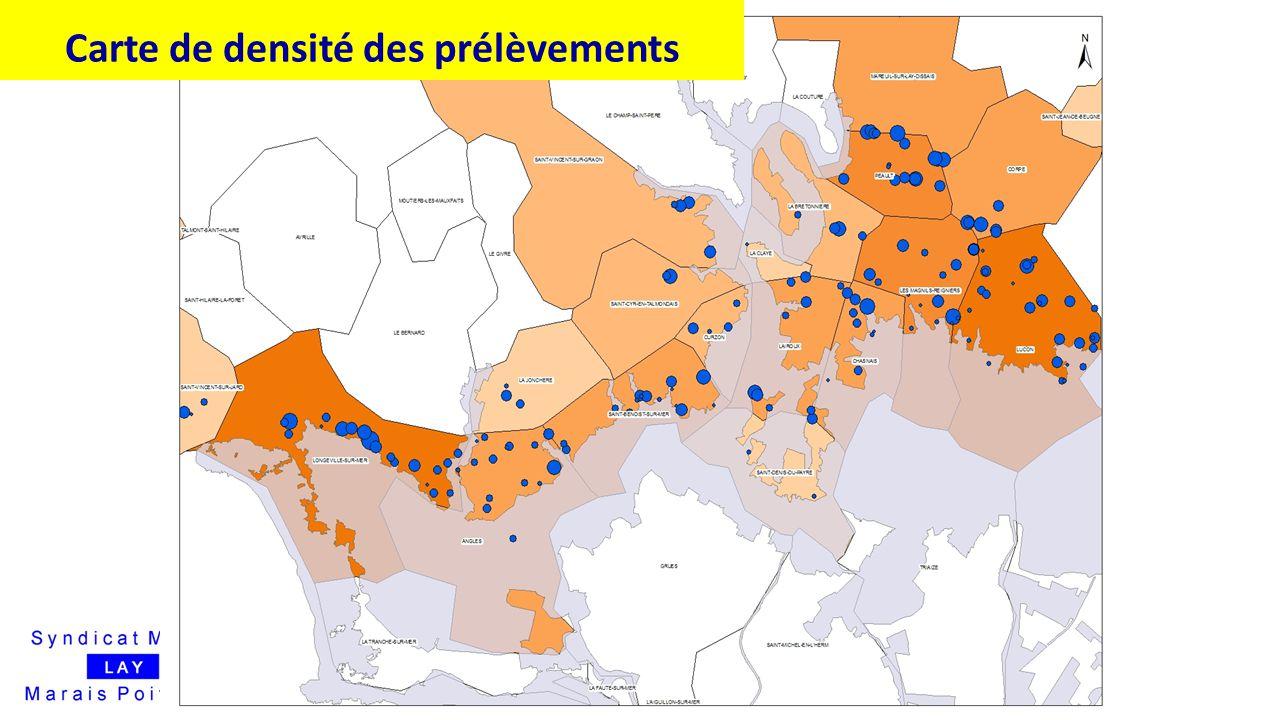 Carte de densité des prélèvements