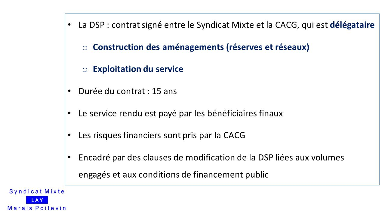 Construction des aménagements (réserves et réseaux)