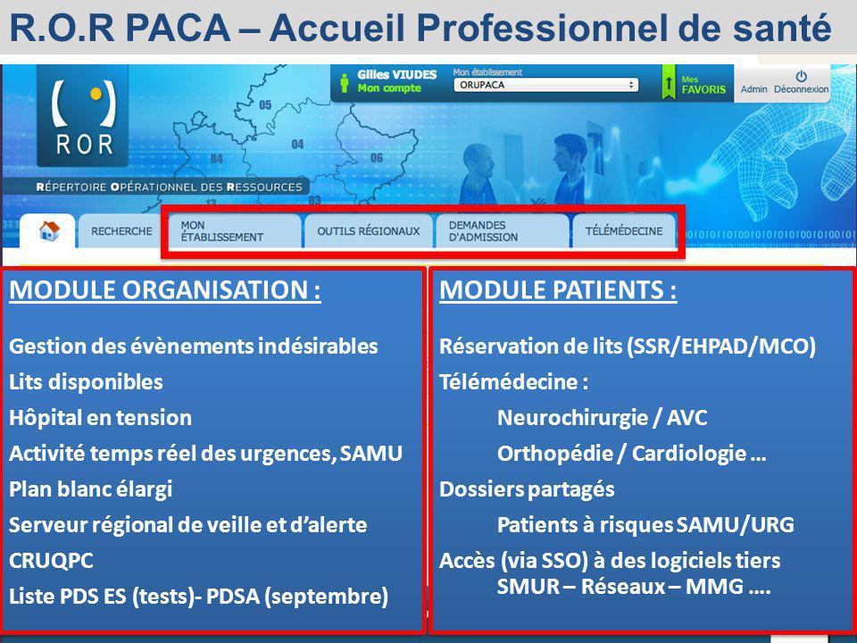 R.O.R PACA – Accueil Professionnel de santé
