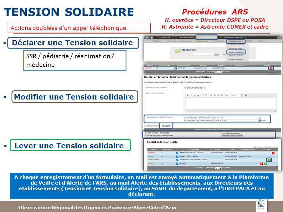 TENSION SOLIDAIRE Procédures ARS Déclarer une Tension solidaire