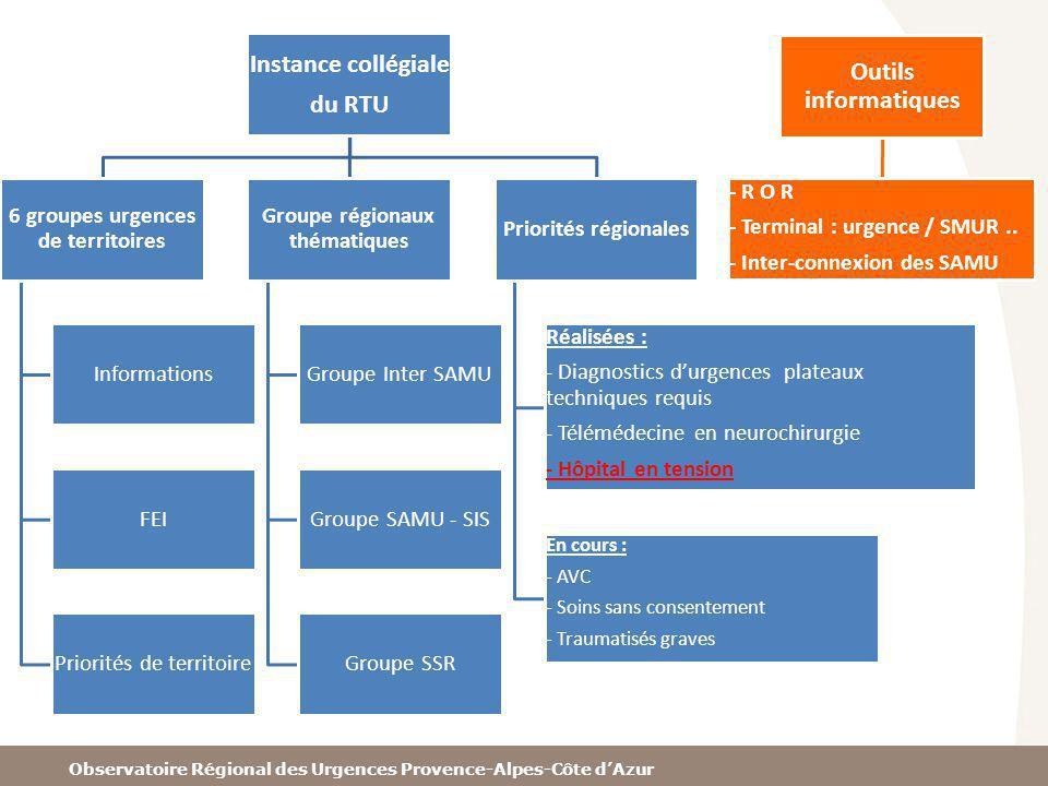 6 groupes urgences de territoires Groupe régionaux thématiques
