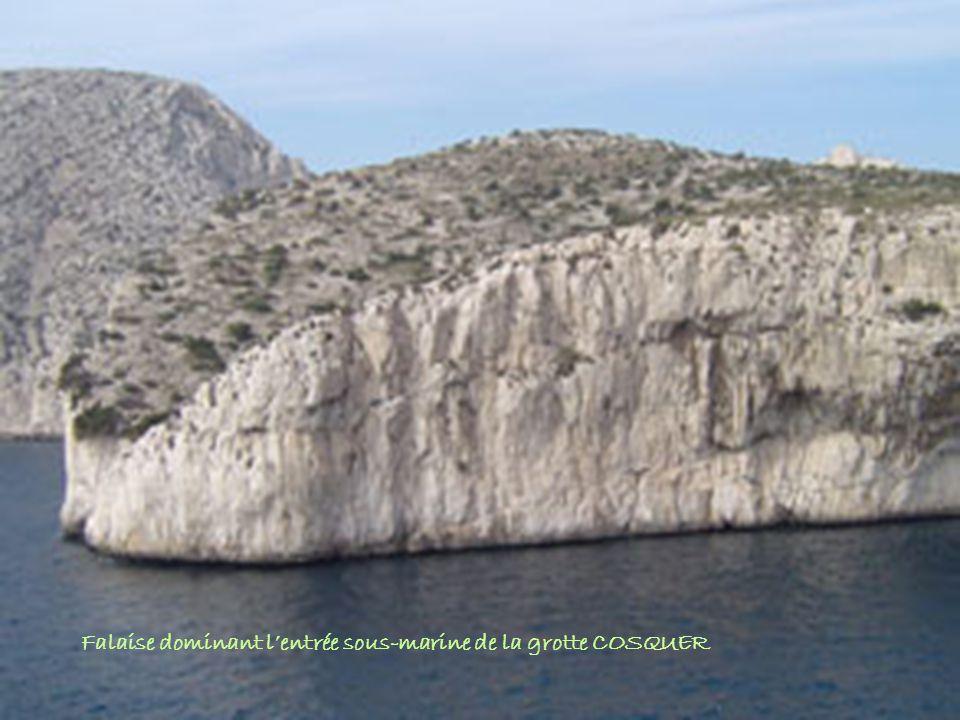 Falaise dominant l'entrée sous-marine de la grotte COSQUER