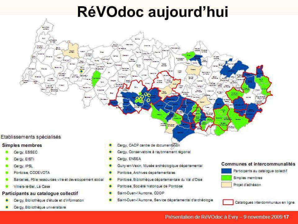 RéVOdoc aujourd'hui Présentation de RéVOdoc à Evry – 9 novembre 2009 17